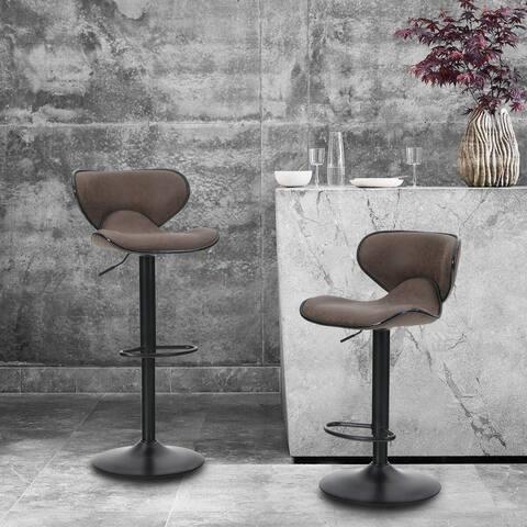 ALPHA HOME Counter Height Adjustable Swivel Bar Chair Set of 2