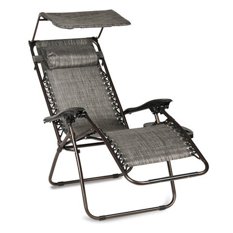 BELLEZE Zero Gravity Chair Bungee Suspension Shade Block Folding Chair Folding Chair Canopy Patio Grey UV