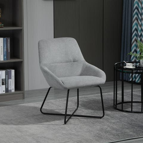 HOMCOM Modern Comfort Style Leisure Accent Armchair with X-Shaped Metal Base and Curved Back