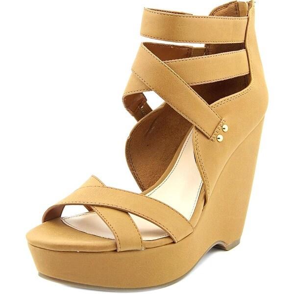 Bar III Samara Women Open Toe Synthetic Tan Wedge Sandal