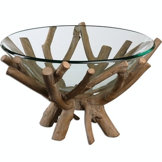 """19.625"""" Rustic Lodge Style Decorative Clear Glass Bowl with Wooden Base"""
