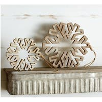 Pack of 4 Decorative Brown Wooden Circle Snowflake Ornament