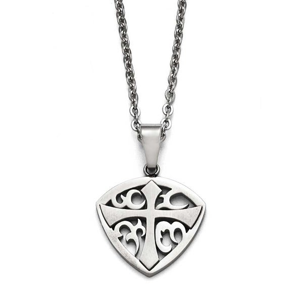 Chisel Stainless Steel Polished and Brushed Cross Necklace - 20 in