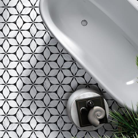 "TileGen. Corola 8"" x 9"" Porcelain Patterned in Black Wall & Floor Tile (25 tiles/10sqft.)"