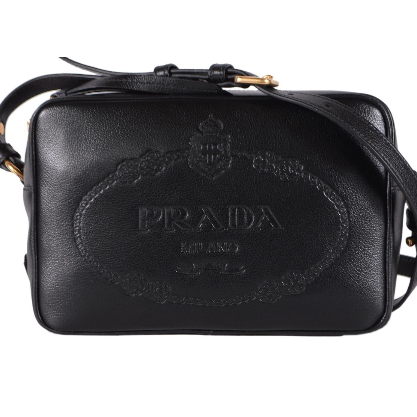 Prada 1bh089 Black Glace Leather