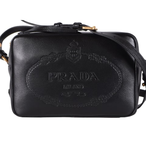 a101571faed757 Prada 1BH089 Black Glace Leather Bandoliera Embossed Logo Camera Bag Purse