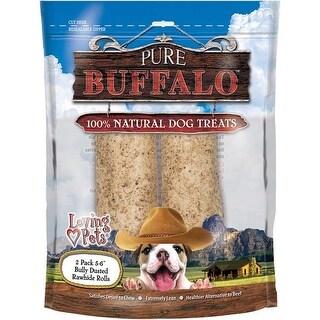 "- Pure Buffalo 5""-6"" Bully Stick Dusted Rawhide Rolls 2/Pkg"
