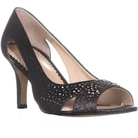 CC35 Joeel Cut Out Peep Toe Pumps, Pewter