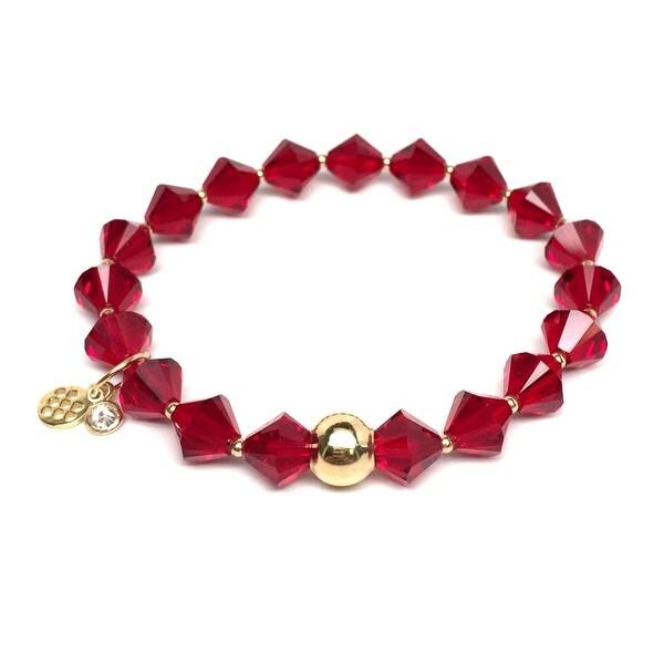 "January Birthstone Color Red Crystal Rachel 7"" Bracelet"