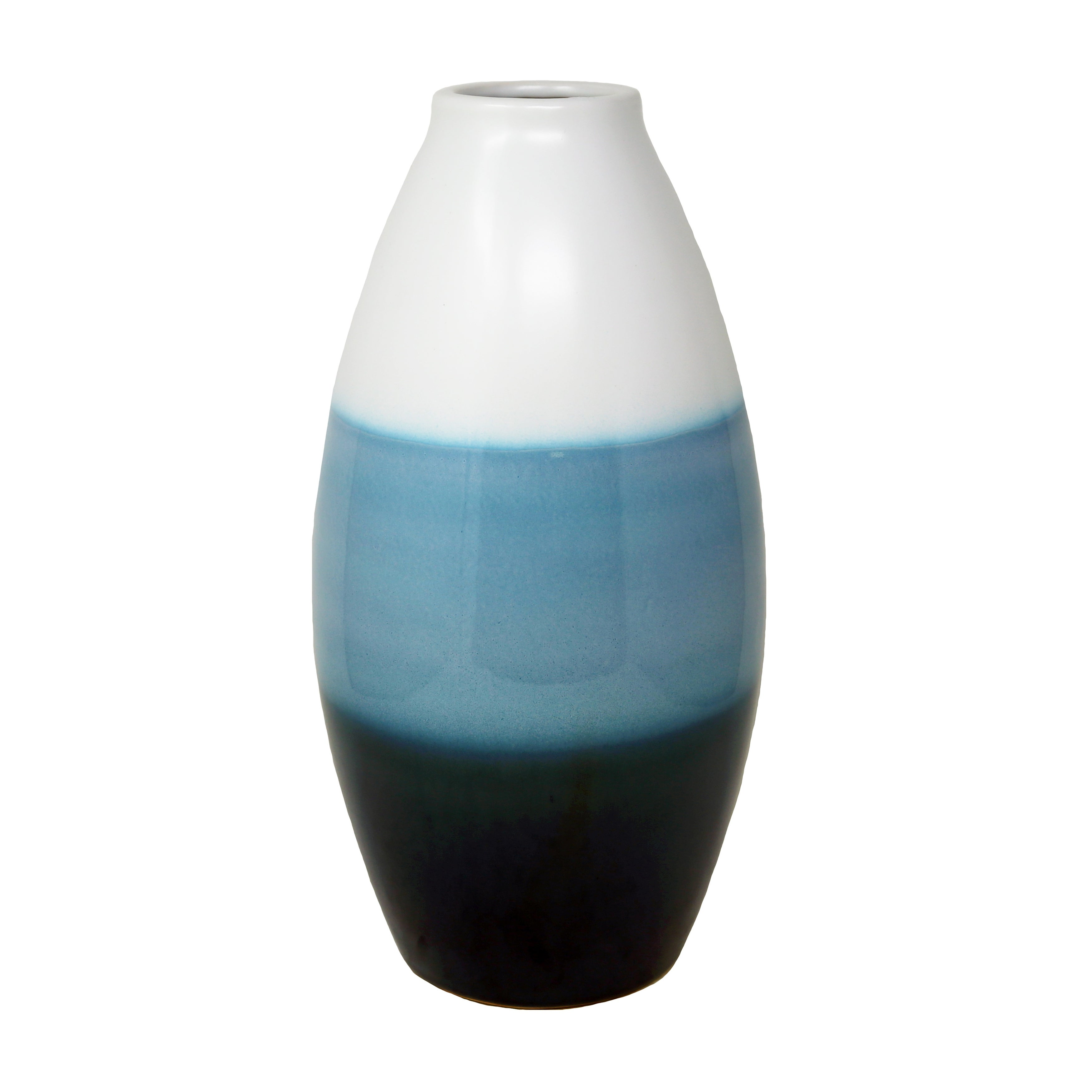 Convex Shaped Ceramic Vase with Three Layered Design, White and Blue
