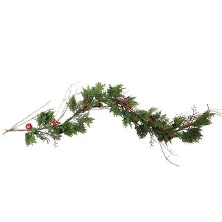 6' Red Bells, Berries and Pine Cone Artificial Christmas Garland - Unlit