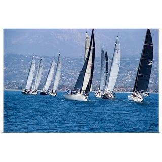 """""""Sailboat race in the Pacific Ocean, Santa Barbara Harbor, Santa Barbara, California"""" Poster Print"""
