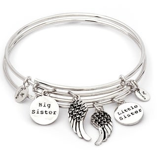 Set of Two Of A Kind Sisters Adjustable Charm Bangle Bracelets For Women, Silver Rhodium Plated