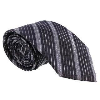 Missoni Multi Stripe Blue/Grey Woven 100% Silk Tie