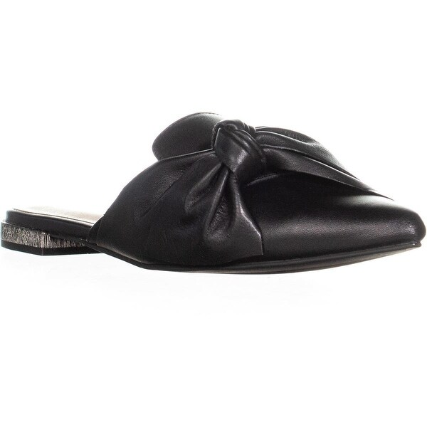 129b13f8fc552 ALDO Maxence Knotted Slip on Pointed Toe Slippers, Black Leather - 7 us /  37.5
