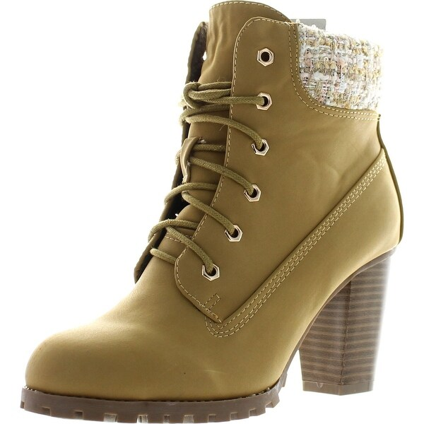 Bellamarie Cici-31 Women's Lace Up Fabric Collar Chunky Heel Hiker Ankle Bootie - Camel - 9 b(m) us