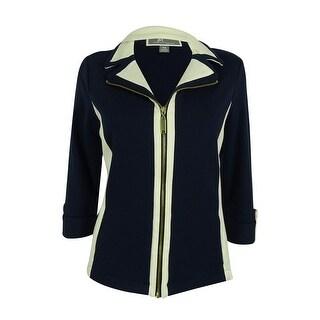 JM Collection Women's Colorblock Zip-Front Active Jacket - intrepid blue