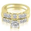 1.50 cttw. 14K Yellow Gold Princess Cut Diamond Engagement Bridal Set - Thumbnail 0