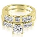 2.00 cttw. 14K Yellow Gold Princess Cut Diamond Engagement Bridal Set - Thumbnail 0