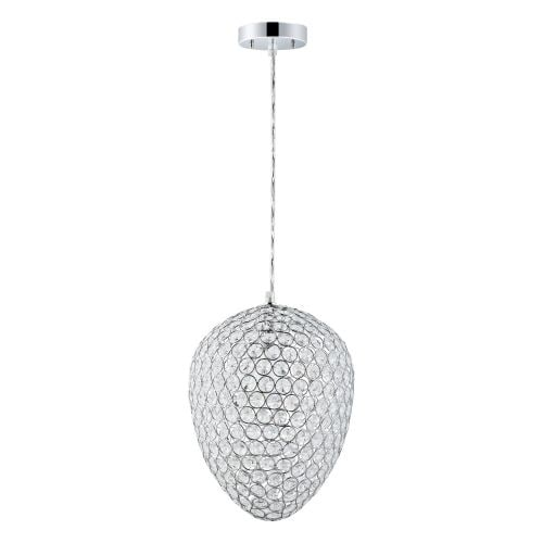 """Globe Electric 65087 1 Light 11"""" Wide Pendant with Chrome and Crystal Egg Shade"""