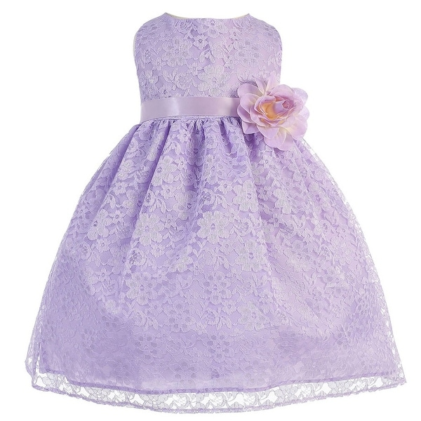 Baby Girls Lilac Floral Lace T-Length Flower Girl Dress 6-24M