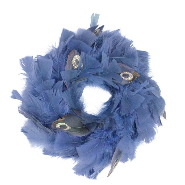 "10"" Regal Peacock Embellished Blue Feather Artificial Christmas Wreath - Unlit"