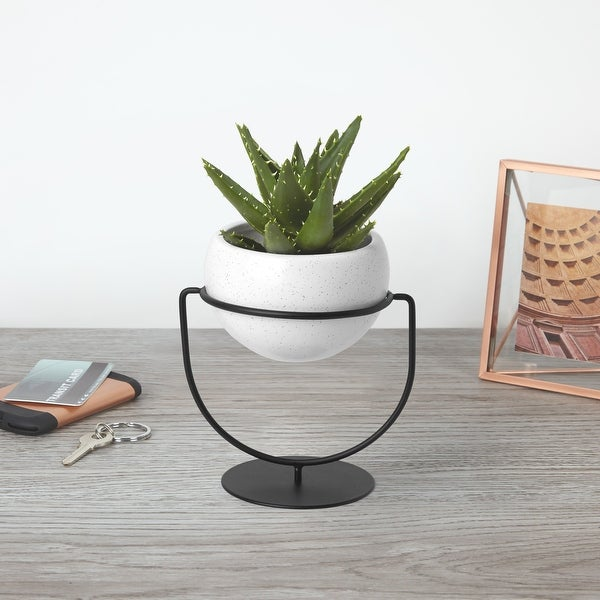 "Umbra 1009251 Nesta 6 3/4"" Wide Ceramic Free Standing Planter with Metal Frame by Sung Wook Park - White"