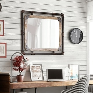 Link to Furniture of America Revo Industrial 31-inch Metal Wall Mirror Similar Items in Mirrors