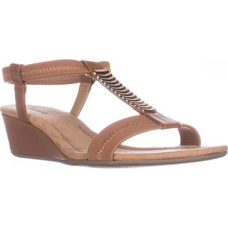 A35 Vacay Wedge T-Strap Sandals, Camel