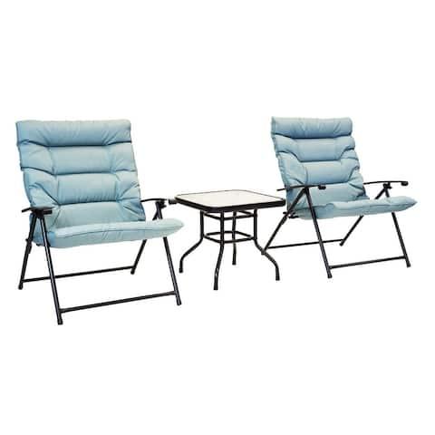 Patio Premier 3pc Folding Set with Cushions, Black Frame, Aqua Cushions