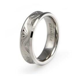 Handcrafted Floral Design Titanium Concave Ring