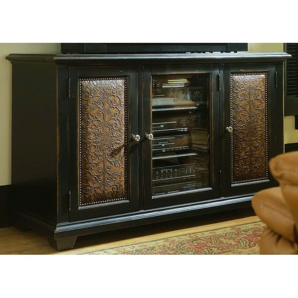 Furniture 370 55 457 60 Wide Hardwood Media Cabinet From The Telluride Collection Black With Red Rub Through Free Shipping Today