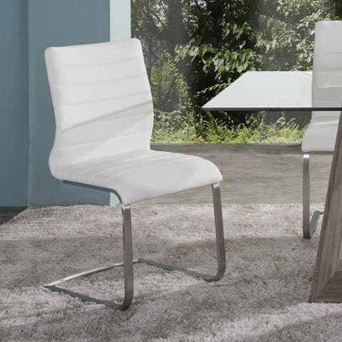 Fusion Contemporary Side Chair In Grey and Stainless Steel (Set of 2)