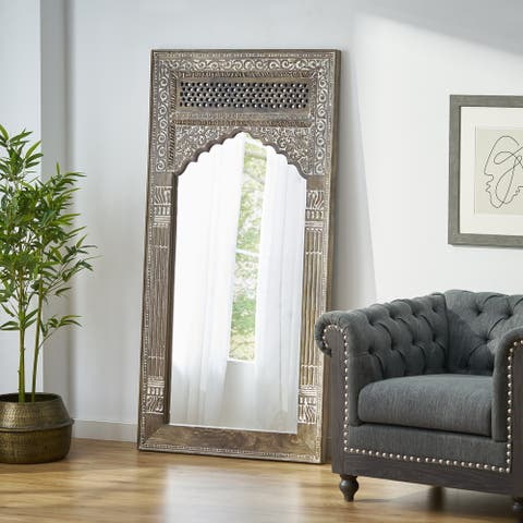 Upsata Traditional Handcrafted Mango Wood Carved Full Length Standing Mirror by Christopher Knight Home