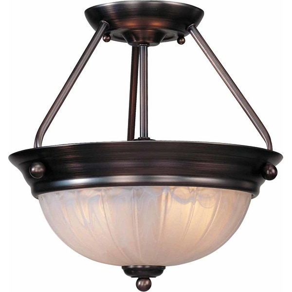 "Volume Lighting V7762 Marti 2-Light 13.25"" Height Semi-Flush Ceiling Fixture with Bowl Shade"