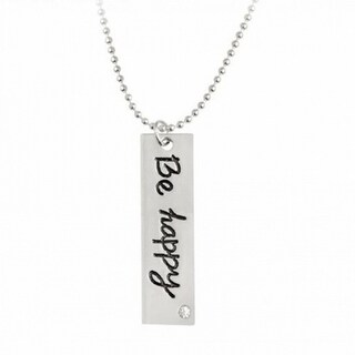 """""""Be happy"""" Tag Bar Necklace"""