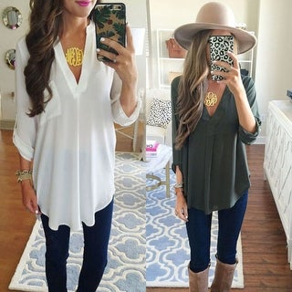 V neck Blouse in Assorted Colors