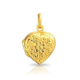Bling Jewelry Flower Leaf Heart Shaped Locket Gold Plated Pendant