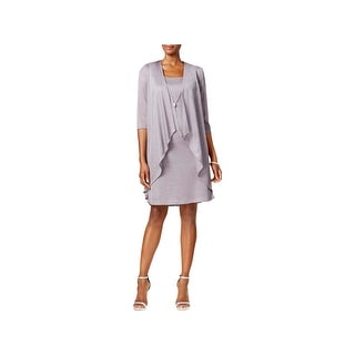 R&M Richards Womens Cocktail Dress Metallic Mock Jacket