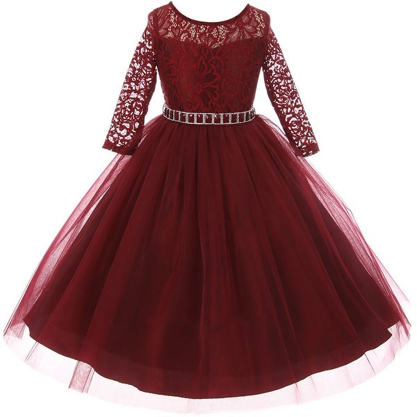 6775f9a6214 Shop Classic Lace Pageant Wedding Flower Girl Dress Burgundy MBK 372 ...