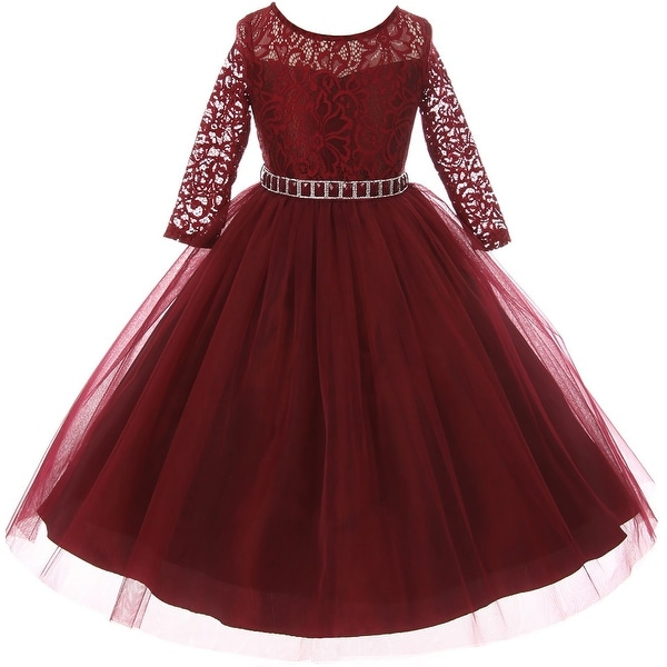 8e948d890c Shop Classic Lace Pageant Wedding Flower Girl Dress Burgundy MBK 372 ...