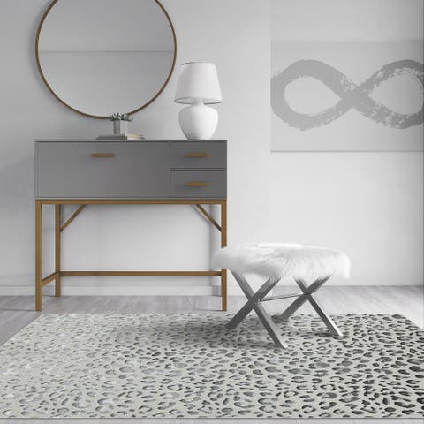 CosmoLiving Natura Collection Snow Leopard Area Rug