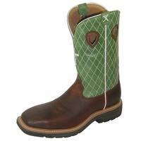 Twisted X Work Boots Mens Lite Cowboy Steel Cognac Brown Lime