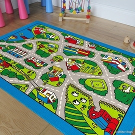 """Allstar Kids / Baby Room Area Rug. Street Map with Light Blue Vibrant Colors (7' 3"""" x 10' 2"""")"""