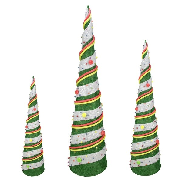 Shop Set of 3 Green Sisal Candy Covered Cone Tree Lighted Christmas Outdoor Decorations - N/A - Free Shipping Today - Overstock - 16549949