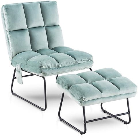 Mcombo Accent Chair with Ottoman, Velvet Modern Side Pocket Metal Legs, Club Chair Lounge Sofa Couch.