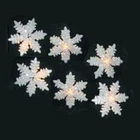 Set of 10 Glitter Drenched Snowflake Christmas Lights - Green Wire