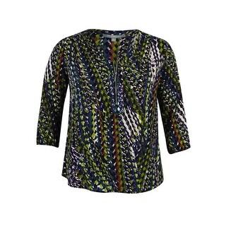 NY Collection Women's 3/4 Sleeve Half Zip Top