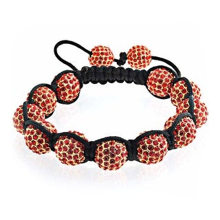 Bling Jewelry Shamballa Inspired Bracelet Red Crystal Beads 12mm Alloy