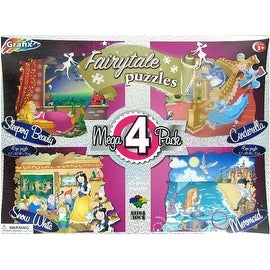 Set of 4 Fairytale 45 Piece Jigsaw Puzzles - multi-color - 16.0 in. x 12.0 in.